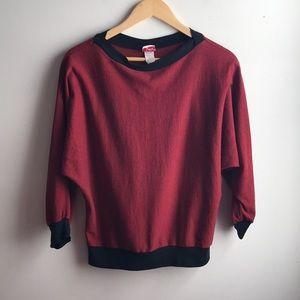 VINTAGE red black stripe dolman long sleeve top